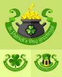 Emblemas para el día de los patricks del santo Fotografía de archivo