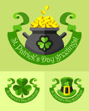 Emblemas para o dia dos patricks de Saint Fotografia de Stock