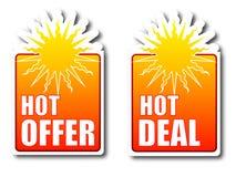 Emblemas quentes do negócio da oferta quente Imagens de Stock