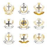 Emblemas religiosos das cruzes ajustados Brasão heráldica, vintage VE ilustração stock