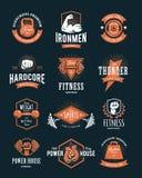 Emblemas retros da aptidão Fotografia de Stock Royalty Free