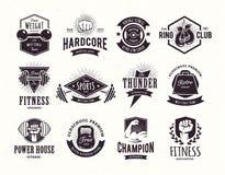 Emblemas retros de la aptitud Foto de archivo libre de regalías