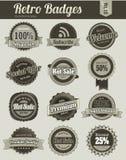 Emblemas retros do vintage Imagens de Stock Royalty Free