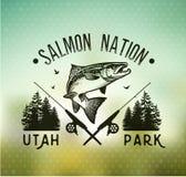 Emblemas salmon da pesca do vintage Fotos de Stock Royalty Free