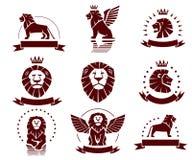 Emblemas simples de los leones fijados Imágenes de archivo libres de regalías