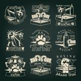 Emblemas tailandeses oscuros de Muay stock de ilustración