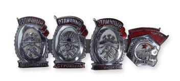 Emblemas premiados do railroader. 1930, URSS Fotografia de Stock Royalty Free