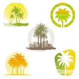 Emblemas y escrituras de la etiqueta de la palmera Imágenes de archivo libres de regalías