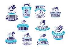 Emblemas y logotipo retros de las vacaciones de verano Fotografía de archivo libre de regalías