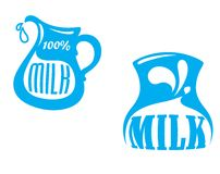 Emblemas y símbolos de la leche Fotos de archivo