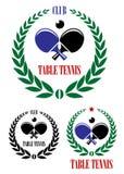 Emblemas y símbolos de los tenis de mesa Fotos de archivo