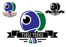 Emblemas y símbolos de los tenis de mesa Foto de archivo libre de regalías