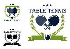 Emblemas y símbolos de los tenis de mesa Fotos de archivo libres de regalías