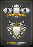 emblematów złocisty heraldyczny setu srebra rocznik Zdjęcie Royalty Free