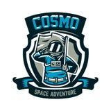 Emblemat, logo, astronauta salutuje flaga i trzyma Lot księżyc, przestrzeń, międzygalaktyczna podróż, wszechświat, osłona ilustracji