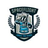 Emblemat, logo, astronauta salutuje flaga i trzyma Lot księżyc, przestrzeń, międzygalaktyczna podróż, wszechświat, osłona Zdjęcia Royalty Free