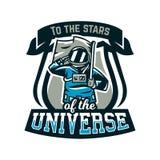 Emblemat, logo, astronauta salutuje flaga i trzyma Lot księżyc, przestrzeń, międzygalaktyczna podróż, wszechświat, osłona Obrazy Royalty Free