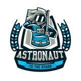 Emblemat, logo, astronauta salutuje flaga i trzyma Lot księżyc, przestrzeń, międzygalaktyczna podróż, wszechświat, osłona Fotografia Royalty Free