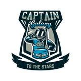 Emblemat, logo, astronauta salutuje flaga i trzyma Lot księżyc, przestrzeń, międzygalaktyczna podróż, wszechświat, osłona Obraz Royalty Free