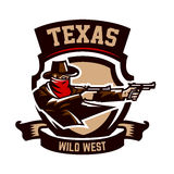 Emblemat, logo, kowbojska strzelanina od dwa koltów Dziki zachód, bandyta, Teksas, rabuś, szeryf, przestępca, osłona Obraz Royalty Free