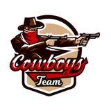 Emblemat, logo, kowbojska strzelanina od dwa koltów Dziki zachód, bandyta, Teksas, rabuś, szeryf, przestępca, osłona Zdjęcia Stock