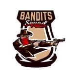 Emblemat, logo, kowbojska strzelanina od dwa koltów Dziki zachód, bandyta, Teksas, rabuś, szeryf, przestępca, osłona Obrazy Royalty Free
