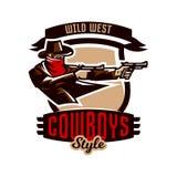 Emblemat, logo, kowbojska strzelanina od dwa koltów Dziki zachód, bandyta, Teksas, rabuś, szeryf, przestępca, osłona Zdjęcie Royalty Free