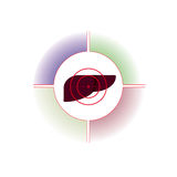 Emblemat, logo Wątróbka jest pod pistoletem Zdjęcie Stock