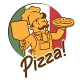 Emblemat śmieszny kucharza lub szefa kuchni o piekarz z pizzą Zdjęcia Royalty Free