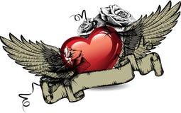 Emblemat z czerwonymi sercami, różami i skrzydłami. Wektor. Obraz Stock