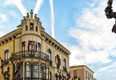 Emblematic building of the early twentieth century. Which incorporates modernist elements, located in the city of Murcia royalty free stock photos
