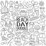 Beach Day Traditional Doodle Icons Sketch Hand Made Design Vector. A emblematic concept of Beach Day with Doodle Style Line Art Set Stock Images