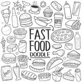 Fast Food Traditional Doodle Icons Sketch Hand Made Design Vector Royalty Free Stock Photo