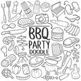 BBQ Barbecue Party Traditional doodle icon hand draw set royalty free illustration