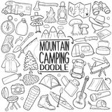 Mountain and Forest Camping Traditional doodle icon hand draw set. A emblematic elements of Camping in the Mountain Doodle Style Hand Draw elements and objects Stock Image