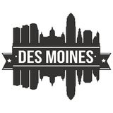 Des Moines Iowa United States Of America USA Icon Vector Art Design Skyline Flat City Silhouette Editable Template royalty free illustration
