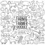 Farm Farmer Animals Traditional doodle icon hand draw set Royalty Free Stock Photography