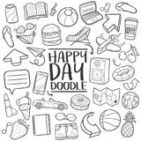 Happy Day Traditional doodle icon hand draw set. A emblematic elements of Happy Day Traditional Doodle Style Hand Draw elements and objects set Stock Images