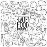 Healthy Food Traditional doodle icon hand draw set Stock Images