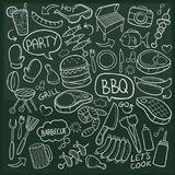 BBQ Party Traditional Doodle Icons Sketch Hand Made Design Vector. A emblematic elements and Tools Traditional Doodle Style Hand Drawn elements and objects set Vector Illustration