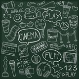 Cinema Day Traditional Doodle Icons Sketch Hand Made Design Vector. A emblematic elements and Tools Traditional Doodle Style Hand Drawn elements and objects set Stock Image