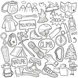 Climb Traditional Doodle Icons Sketch Hand Made Design Vector. A emblematic elements and Tools Traditional Doodle Style Hand Drawn elements and objects set Stock Image
