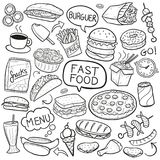 Fast Food Traditional Doodle Icons Sketch Hand Made Design Vector stock illustration