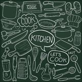 Kitchen Tools Traditional Doodle Icons Sketch Hand Made Design Vector royalty free illustration