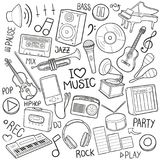 Music Tools Equipment Traditional Doodle Icons Sketch Hand Made Design Vector stock illustration