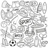 Sea Sport film Traditional Doodle Icons Sketch Hand Made Design Vector. A emblematic elements and Tools Traditional Doodle Style Hand Drawn elements and objects Stock Photo