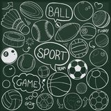 Sport Balls Traditional Doodle Icons Sketch Hand Made Design Vector royalty free illustration