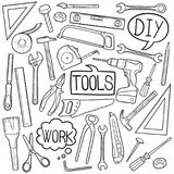 Tools DIY Home Equipment Traditional Doodle Icons Sketch Hand Made Design Vector vector illustration