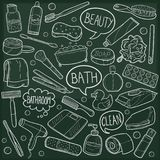 Bath Beauty Home Traditional Doodle Icons Sketch Hand Made Design Vector vector illustration