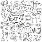 Cinema film Traditional Doodle Icons Sketch Hand Made Design Vector vector illustration